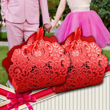 100pcs Red Laser Cut Wedding Favor Boxes Wedding Chocolate Candy Box Casamento Wedding Favors And Gifts(China)