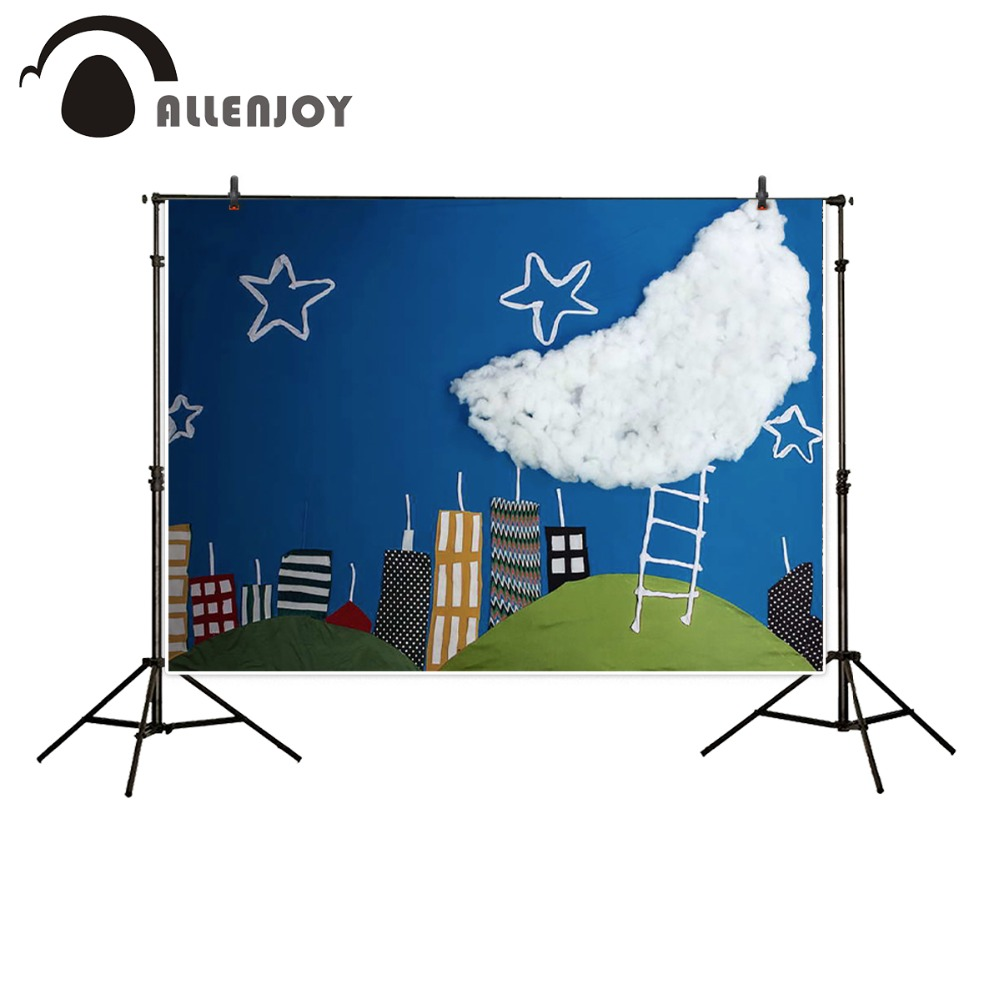 Allenjoy 5ftx7ft newborns Photography Backdrop cartoon blue sky clouds moon star child fabric background for photography studio<br><br>Aliexpress