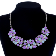 Women Synthetic Gemstone Pendant&Necklace Multi Colors Statement Necklace Collares Hot Sale Collier Boheme