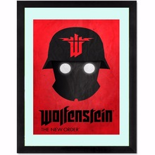 Wolfenstein Logo Vintage Retro Posters and Prints Home Decoration   Canvas Painting Modern Wall Art Picture Silk Fabric