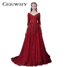 CEEWHY Burgundy Robe De Soiree Sexy V-Neck Lace Beading Evening Dresses Long Bride Banquet Luxury Evening Gowns Party Prom Dress(China)