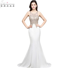 Robe de Soiree Longue Sexy Sheer Back Beaded Lace Mermaid Evening Dress 2017 Long Cheap White Evening Gown Vestido de Festa(China)