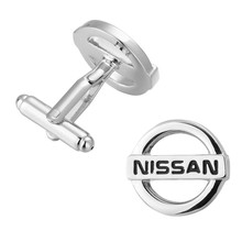 The French man Cufflinks production of high quality brass silver NISSAN logo Cufflinks Cuff nail shape source 3 pair pack sale