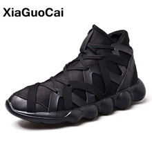 XiaGuoCai Spring Autumn Fashion High Top Men's Casual Shoes Breathable Lace Up Lightweight High Quality Mens Footwear Sneaker(China)
