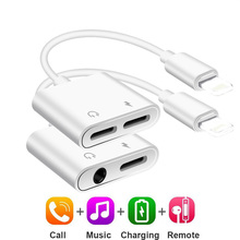 3.5mm Dual Jack Headphone Audio Adapter Iphone 7 Plus Call&Charging&Music Adapter Splitter Cable Iphone X XS XR 8 PLUS