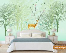 Custom children kids cartoon abstract green wallpaper mural blossom deer fantasy tree forest sofa bedroom living room background