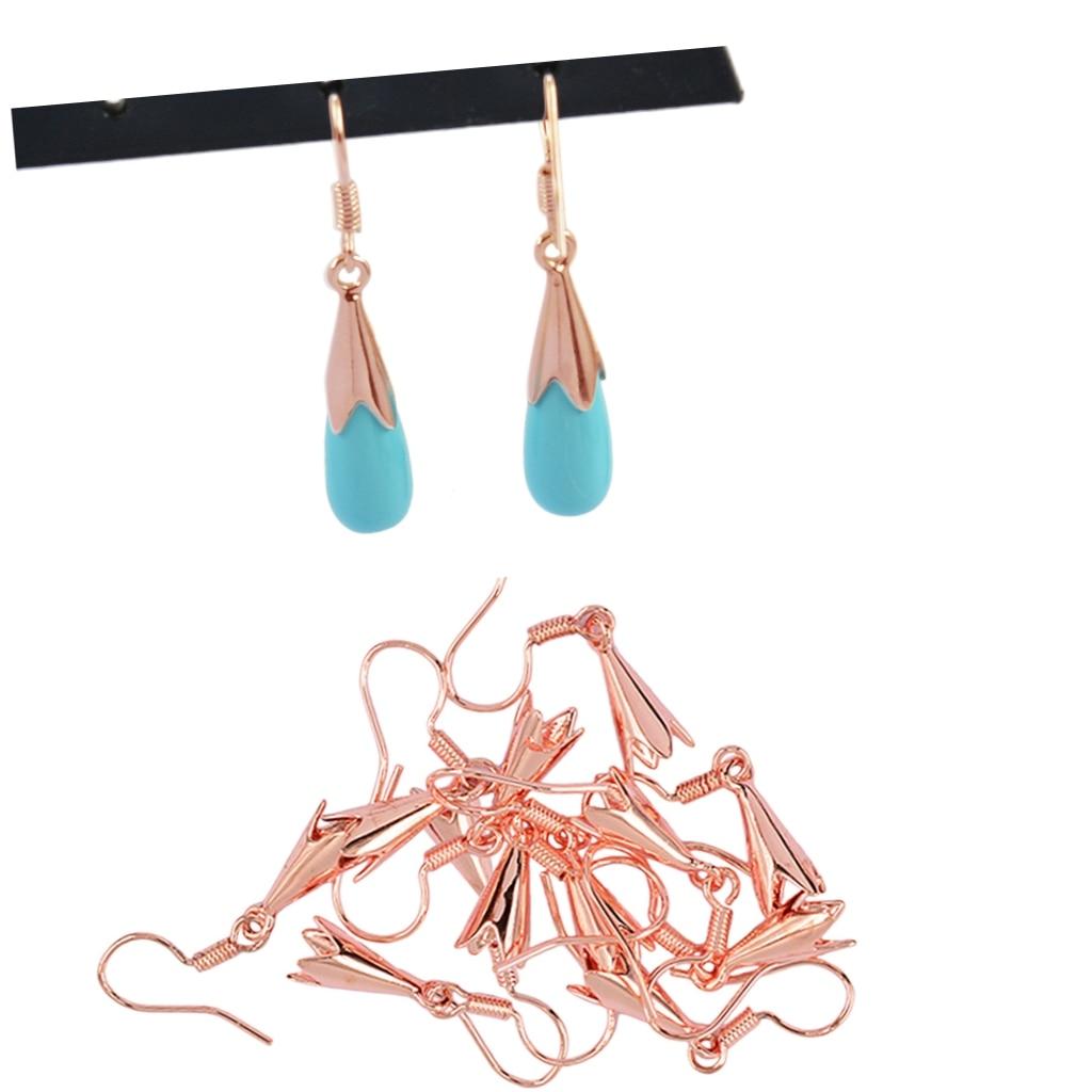50pcs Gold Plated Copper Bead Caps Bracelet Clasps Hooks Horns DIY Findings
