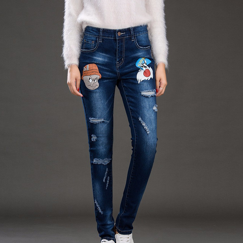 A1096 new Blue sexy Skinny Pure Elastic Waist cotton casual jeans in womens with high waist jeans for woman CartoonОдежда и ак�е��уары<br><br><br>Aliexpress