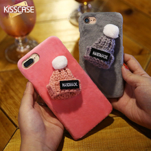 KISSCASE Plush Hard Plastic Mobile Phone Case For Apple iPhone 7 Plus 6 6S Plus Lovely Cartoon Hat Back Cover For iPhone 7 Plus