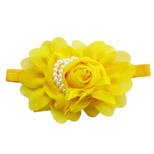 Feitong Solid Girl Headbands Rose Pearl Hair Accessories For Girls Kids Children Chiffon Elastic Hair Band Nice Design