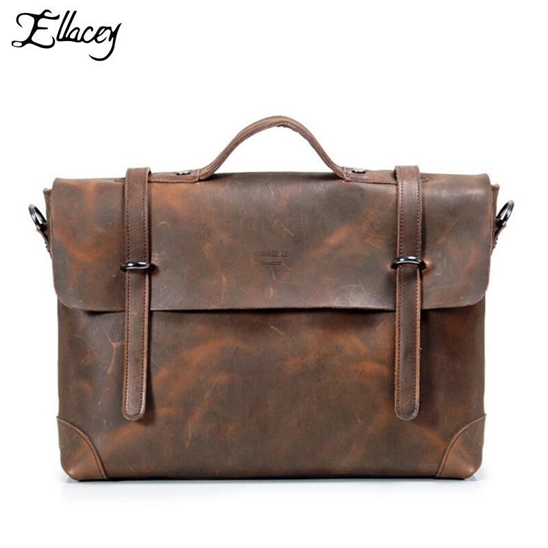 Famous Brand Men`s Genuine leather bags Mens Crazy Horse Leather Briefcase large size computer bags laptop bag<br><br>Aliexpress