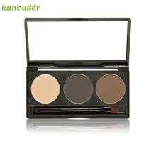Pretty New Brand Fashion Women Makeup 3 Colors Eyebrow Powder Concealer Palette With Mirror Eyebrow Brush Beauty Tools