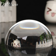 "KiWarm New 100mm 3.94"" Paperweight Half Sphere Ball Magnifiers Glass Clear Crystal Ball for Home Decor Ornament Crafts Gifts"