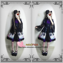 Gorgerous Black Swan Lake Printing Women's Lolita Dress OP Long Hime Sleeve Chiffon One Piece with Chest Bow Pin