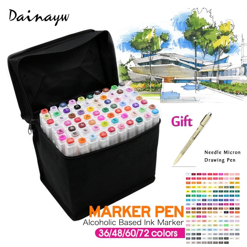36/48/60/72 Colors Set Artist Dual Head Sketch Marker Pen Paint Brush For School Drawing Sketch Marker Design Supplies<br><br>Aliexpress