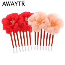 AWAYTR Bohemian Flower Hair Combs Headdress Double Camellia Rose Flower  Girl Acrylic Anti-Static Bride Headwear Hair