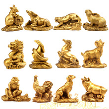 Chinese Zodiac twelve statue copper Animal ornament rat ox tiger rabbit dragon snake horse sheep monkey chicken dog pig figure(China)