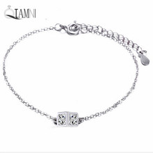 QIAMNI 925 Sterling Silver Shining Crystal Zircon Cube Bangles Bracelets Accessories Pulsera Girls Women Gift Christmas Jewelry