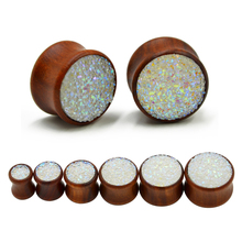 Synthetic Druzy Mineral Stone Double Flared Saddle Ear Gauge Wood Flesh Tunnel Plug Piercing Body Jewelry Expanders