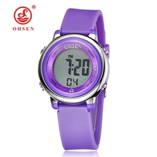 Famous brand OHSEN Girl Women sport digital LCD Watch 50M Diving Purple dial silicone strap cartoon Children wristwatch Kid Gift