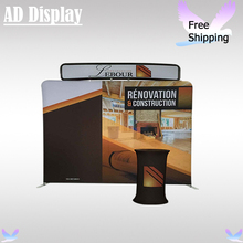 10ft*8ft Straight Tension Fabric Backdrop Trade Show Display Stand With Single Side Printing(Include Oval Table And Top Banner)