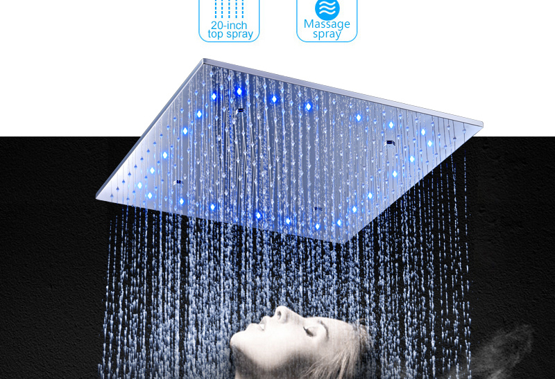 Luxury 20 Inches High Flow Stainless Steel Ceiling Shower Heads Thermostatic Mixer LED Shower Faucet (5)