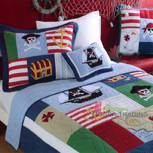 CHAUSUB Handmade Patchwork QUILT SET 2PC Embroidered Kids Cotton Quilts Bed cover Pillow Case Ocean Pirate Design bedding Twin(China)