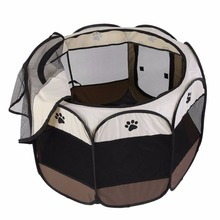 Portable Outdoor Detachable Folded Folding Waterproof Octagonal Pet Dog Cat Kennel Puppy Fence Oxford Tents Cage(China)