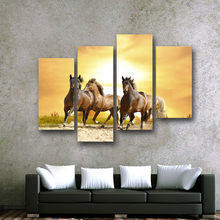 4PCS Cool Running Black Horse Wall Painting Realist Animal Canvas Painting Home Wall Decor Art Print livingroom Hotel Workshop(China)