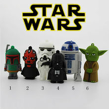 Pen Drive Star War Darth Vader 64GB Rubber USB 32GB 512GB Flash 2.0 Memory Drive Sticks Disk R2 D2 Robot Gift Card Creativo Key(China)