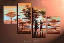 Hot Africa Sexy Girl Lake Tree Oil Painting On Canvas 4 Panel Arts Set Modern Home Abstract Wall Decor Picture for Living Room