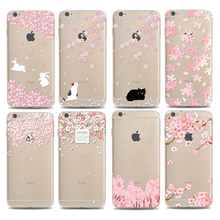 Cherry blossoms Flowers phone Cases For Iphone 7 7Plus Soft TPU Silicon Ultra-Thin Floral Peach Phone Back Cover