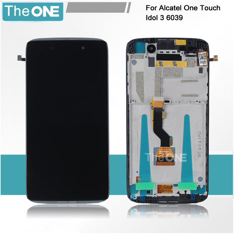 Free Shipping DHL LCD Display with Digitizer Touch Screen Assemblely For Alcatel One Touch Idol 3 OT6039 6039 with Frame Black<br><br>Aliexpress