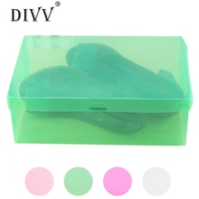 1PC Foldable Clear Shoes Storage Box Plastic Stackable Shoe Organizer Ma3 Levert Dropship(China)