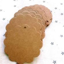 Cute Flower Round Kraft Paper Hang Tags Wedding Party Favor Label Gift Cards #57926