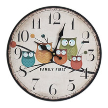 European fashion pastoral painted wood wall clock five owl pattern electronic clock living room decorative wall clock 35 * 35cm(China)