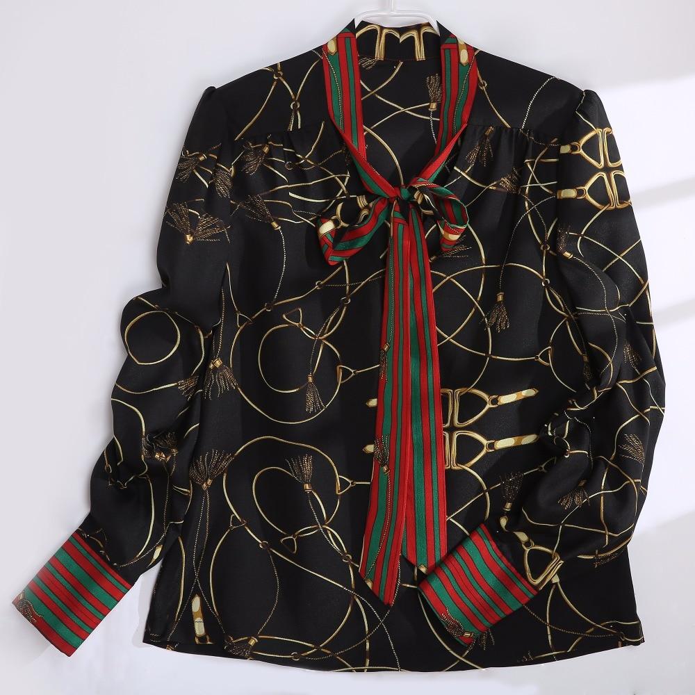 2018 Spring Women Fashion Blouse Bow Ribbon Striped Shirt Black Beige Casual Office Shirts Print Female Big Size Tops Zevrez 16