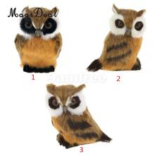 MagiDeal Night OWL Figurine Collection Miniature Furry Plush Animal Model Kid's Toy Gift Living Room Home Decor Accessories