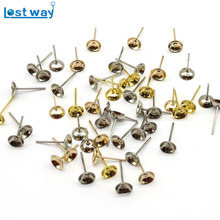 Wholesale 200pcs/lot Flat Pad Post Piercing Ear Stud DIY Paste Beads Holder Pearl Base For Jewelry Findings