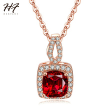 New Rose Gold Color Simple Square Red CZ Cubic Zirconia Pendant Engagement Necklace Fashion Jewelry for Women Wholesale N616