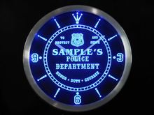 nctk-tm Name Personalized Custom Police Station Badge Bar Neon Sign LED Clock