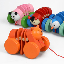 Wooden Toys Pull & Push Along Car Toy Caterpillar Animal Educations Toys