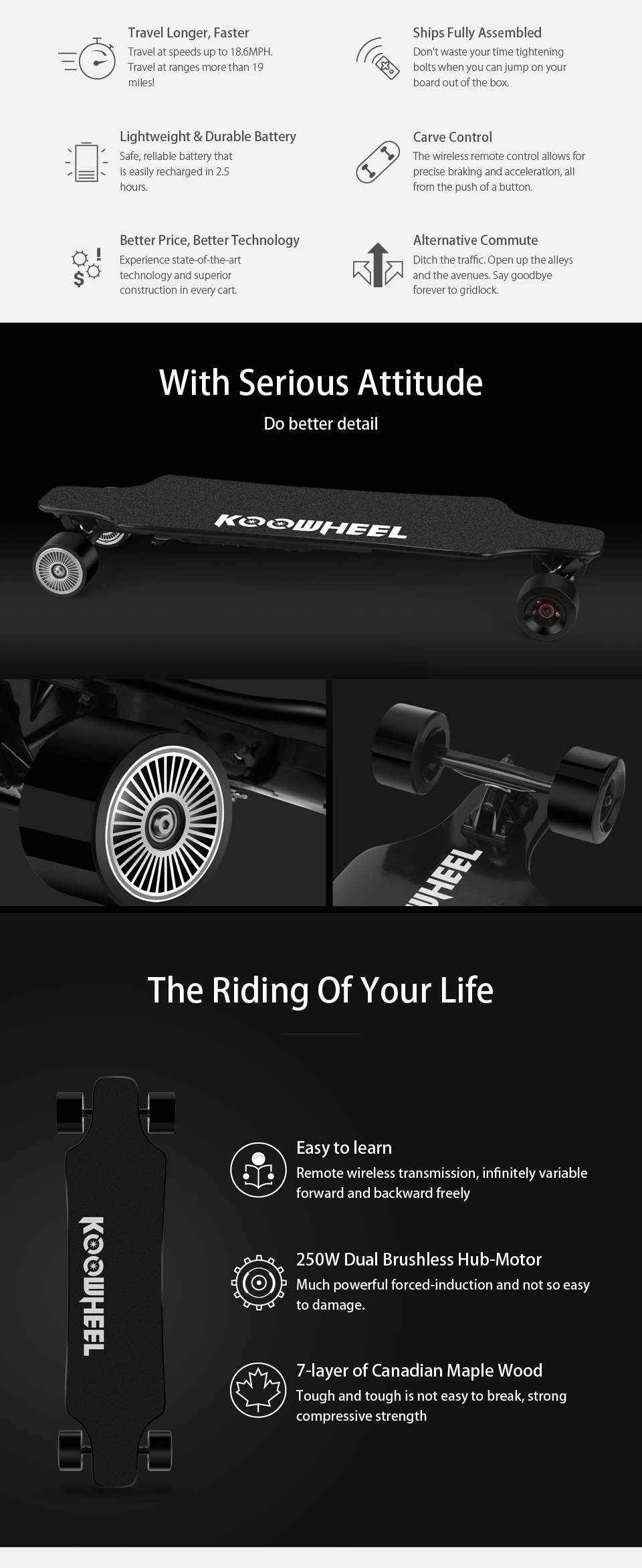 Koowheel Longboard Newest D3M+ Electric Skateboard 4 wheels Electric Hoverboard with Updated Remote Controller and Hub Motor (4)