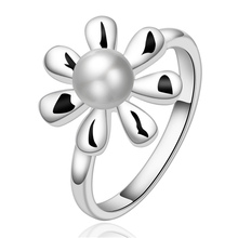 Special stylish simplicity silver plated jewelry fashion charm noble elegant women simple pearl ring R594