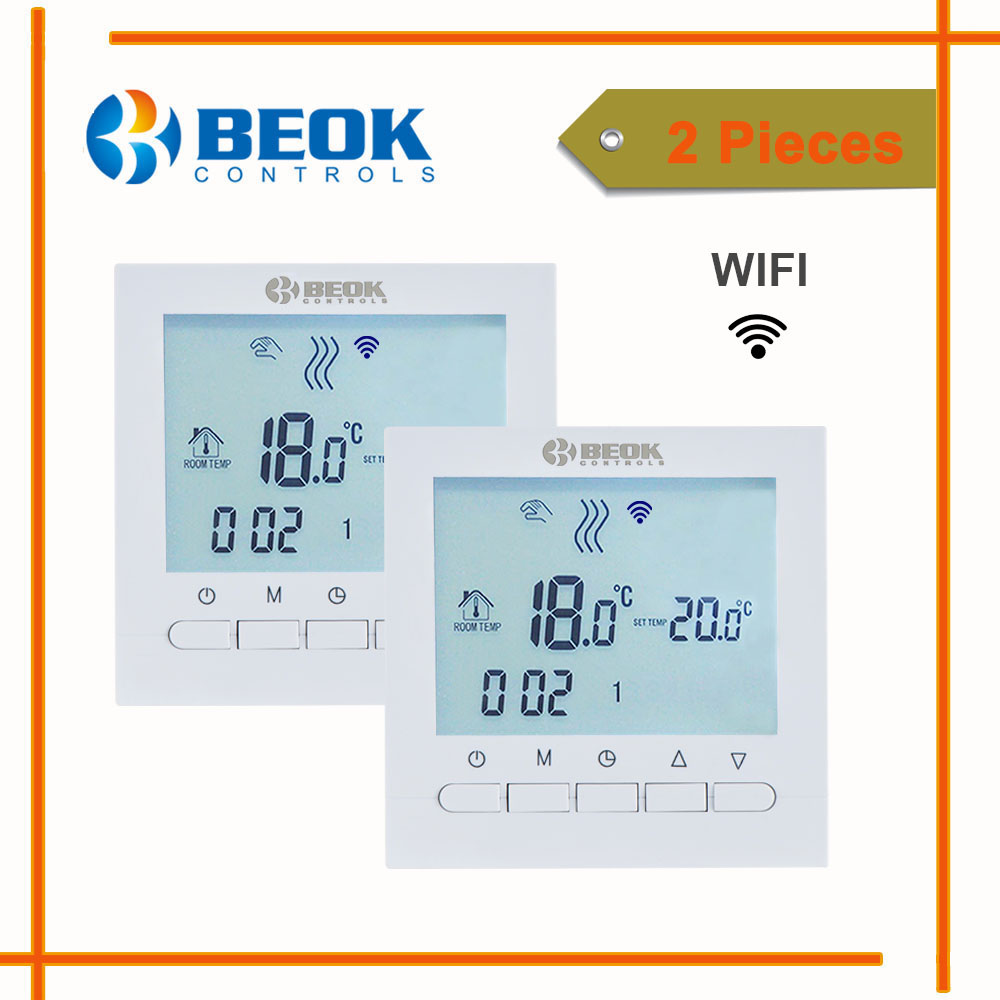 2 Pieces Wifi Thermostat for Gas Boiler Smart Phone APP Control Temperature Regulator White Color Home Warm Thermostat<br>