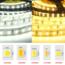 LED Strip Light 5M 12V 2835 3014 4014 3528 5050 5630 5054 SMD Warm Cool White non Waterproof tape ribbon Light led stripe 12v(China)