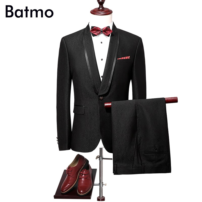 Batmo 2017 new arrival jacquard black wedding suits men,high quality cotton printed suits men, jacket+pants