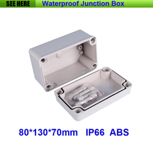 Free Shipping 1 Piece Mini Type IP66 ABS Grey Waterproof Custom Plastic Enclosure 80*130*70mm(China)