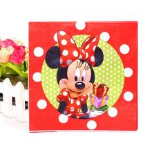 20Pcs/set Cute 100% Virgin Wood Napkin Red Minnie Mouse Napkin Paper For Kids Birthday Party Decoration Supplies