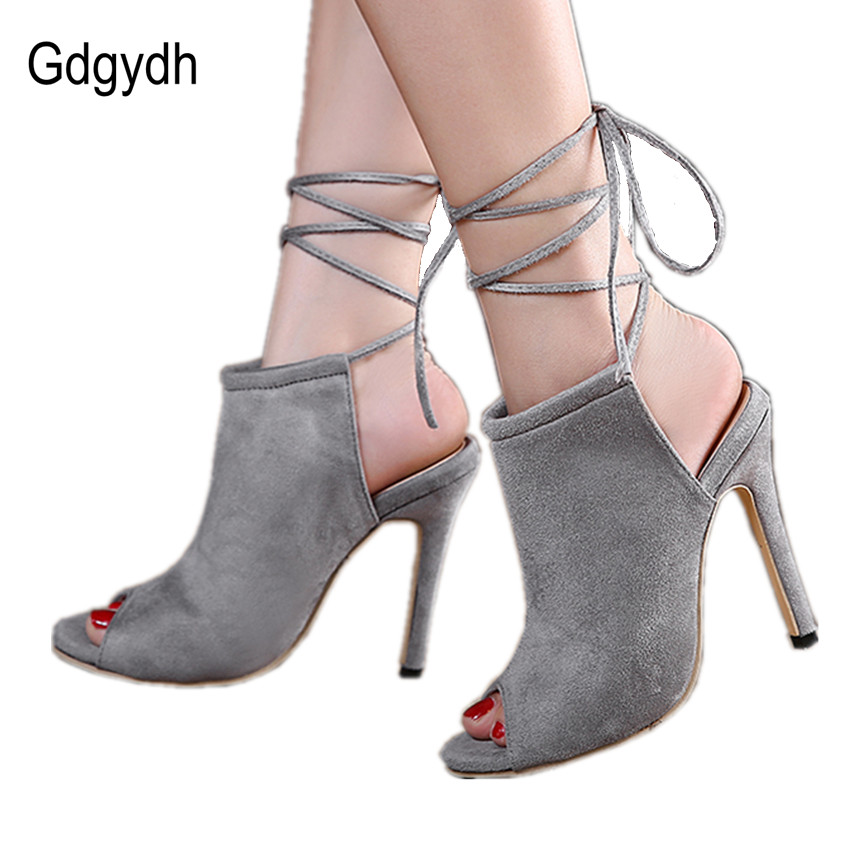 Gdgydh Fashion Black Stiletto Women Shoes 2017 Spring New Arrival Open Toe Cut-outs Ankle Strap Black Gray Ladies Shoes Pumps <br><br>Aliexpress